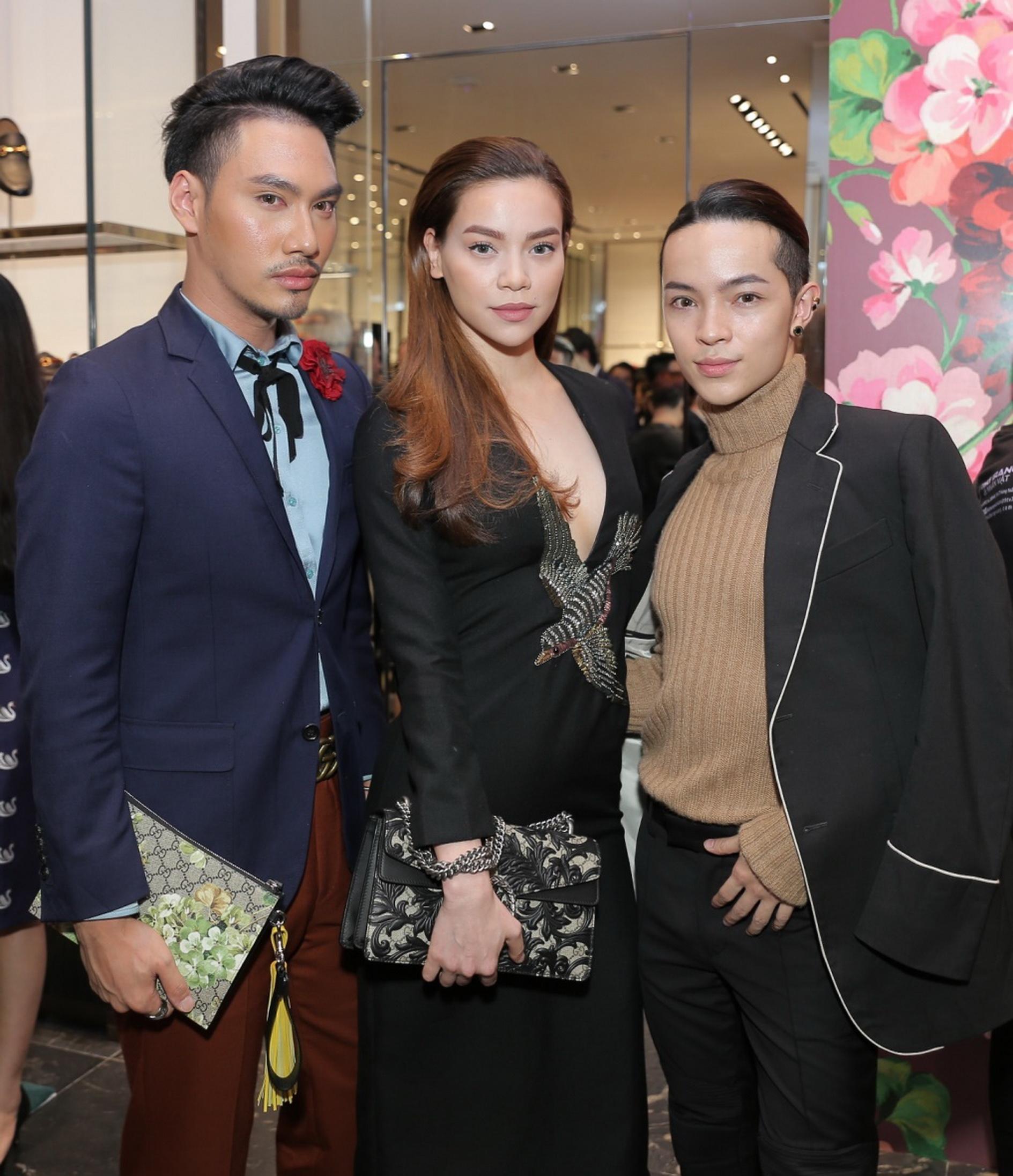 Hồ Ngọc Hà, Lý Quý Khánh và Keibin Lei cùng có mặt tại sự kiện ra mắt 2 bộ sưu tập của Gucci