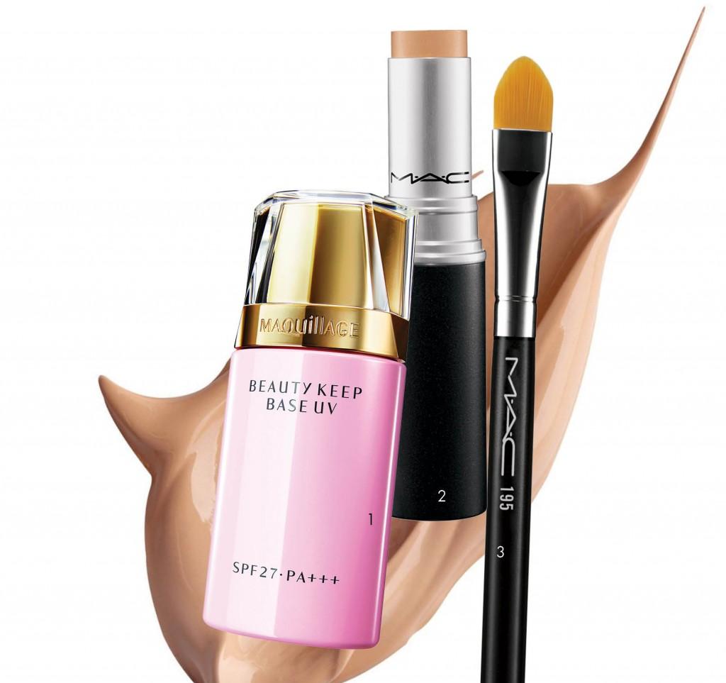 1. Kem lót trang điểm ngăn chặn tình trạng bóng nhờn, che phủ lỗ chân lông lớn Maquillage Beauty Keep Base UV (Shiseido). Giá: 800.000 VND. 2. Concealer với các hạt màu hiệu chỉnh theo sắc da của chính bạn, che khuyết điểm chuẩn màu như làn da tinh khiết (M•A•C). Giá: 590.00 VND. 3. Cọ che khuyết điểm bằng lông cừu (M•A•C). Giá: 640.000 VND.