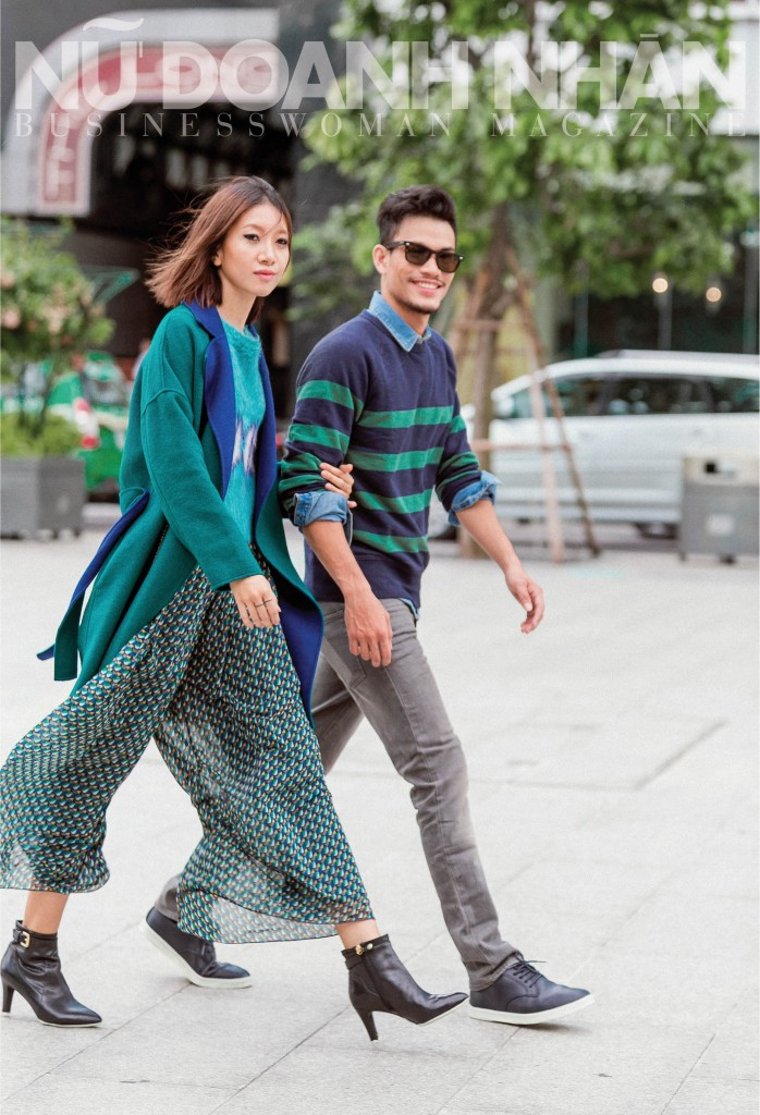 Nữ: Áo len, áo khoác, quần Max&Co; giày Geox Nam: Áo denim, sweater, quần Gap; giày Clae
