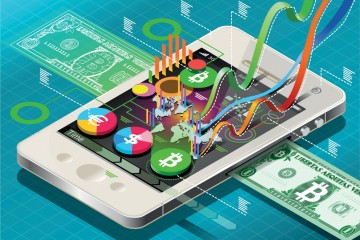 Detailed illustration of a Isometric Virtual Coin Infographic on Mobile Phone This illustration is saved in EPS10 with color space in RGB.