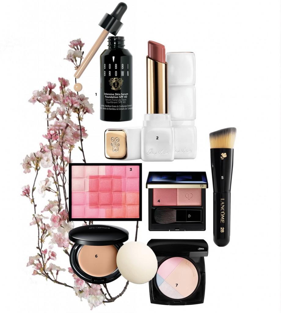 1. Foundation chứa serum dưỡng da, Bobbi Brown - 2. Son mềm mượt Kiss Kiss Rose, Guerlain - 3. Phấn má hồng tạo khối 5 sắc hòa quyện, Shiseido, - 800.000 VND - 4. Phấn má 2 màu, Clé de Peau Beauté - 5. Cọ đa năng, Lancôme 6. Phấn nền dạng kem chống nắng, shu uemura - 7. Phấn highlight nhũ ngọc trai cho gương mặt bừng sáng, Lancôme