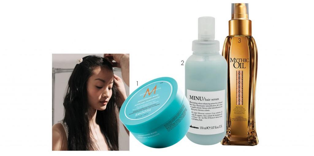 1.Mặt nạ tóc nuôi dưỡng sâu đưa tóc vào nếp suôn mềm, Moroccanoil, 886.000 VND 2. Tinh chất xả khô dưỡng tóc và tạo bóng, Davines, 363.000 VND 3. Tinh dầu dưỡng tóc tạo độ bóng mượt và sức sống, L'Oréal Professionnel, 440.000 VND