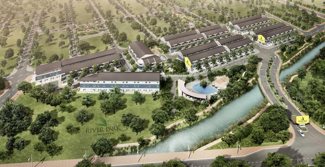 Phối cảnh tổng thể khu nhà phố thương mại River Park.