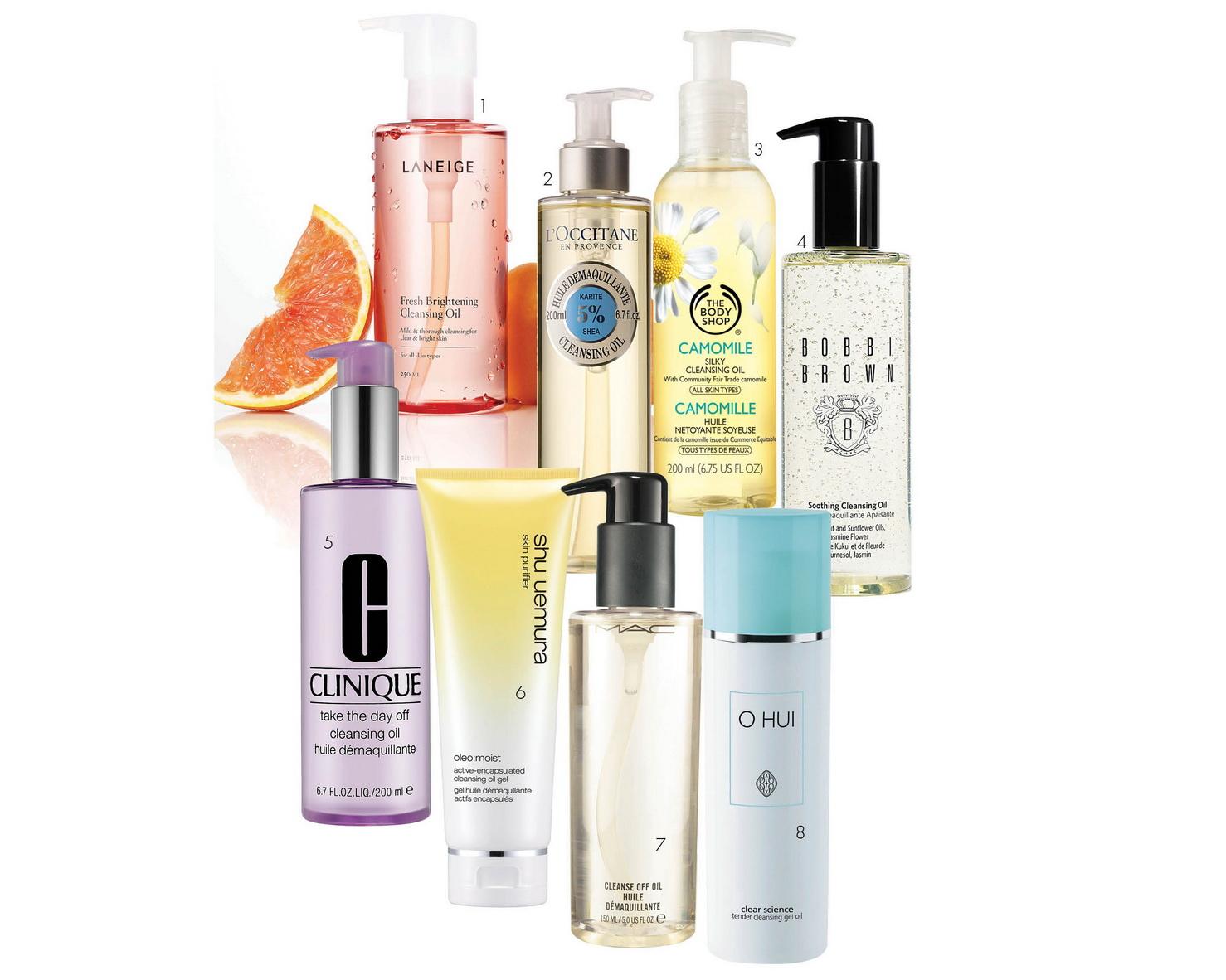1.Laneige Fresh Brightening Cleansing Oil: Dầu tẩy trang làm sáng và thư giãn cho da với kết cấu dịu nhẹ, tươi mát. Thành phần chứa vitamin C, chiết xuất quả bưởi và hạt quả mơ. 850.000 VND. 2. L'Occitane Shea Cleansing Oil: Được tăng cường thành phần dưỡng ẩm dầu bơ đậu mỡ (5%). Làm sạch hiệu quả bụi bẩn sâu bên trong da và lớp trang điểm. 690.000 VND 3. The Body Shop Camomile Silky Cleansing Oil: Dung dịch tẩy trang dịu nhẹ thích hợp cho da nhạy cảm, đem lại cảm giác tươi mới và sạch mịn màng. 559.000 VND. 4. Bobbi Brown Soothing Cleansing Oil: Chiết xuất hoa lài, dầu hạt kukui, dầu olive, jojoba hữu cơ. Khả năng làm sạch dễ dàng thậm chí đối với mascara không trôi. 5. Clinique Take The Day Off Cleansing Oil: Dầu tẩy trang phù hợp da dầu và hỗn hợp. Làm sạch lớp nền trang điểm khó tẩy nhất. 6. shu uemura oleo: moist cleansing oil gel: Gel làm sạch và tẩy trang chứa tinh thể dầu giúp làm sạch và mềm mịn da. 990.000 VND. 7. M•A•C Cleanse Off Oil: Sản phẩm tẩy trang có thành phần dầu giúp tháo bỏ nhẹ nhàng các lớp trang điểm dày nhất kể cả sản phẩm không trôi. 730.000 VND. 8. O HUI Tender Cleansing Gel Oil: Sản phẩm tẩy trang dạng gel đặc biệt thích hợp cho da mẫn cảm, dễ kích ứng. 850.000 VND.