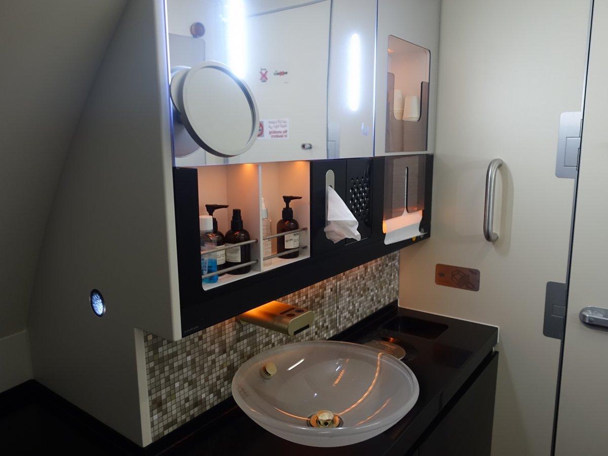 Etihad có 2 phòng tắm cho khách. Một có vòi sen, nhưng hẹp hơn. Một thì dài và rộng hơn.