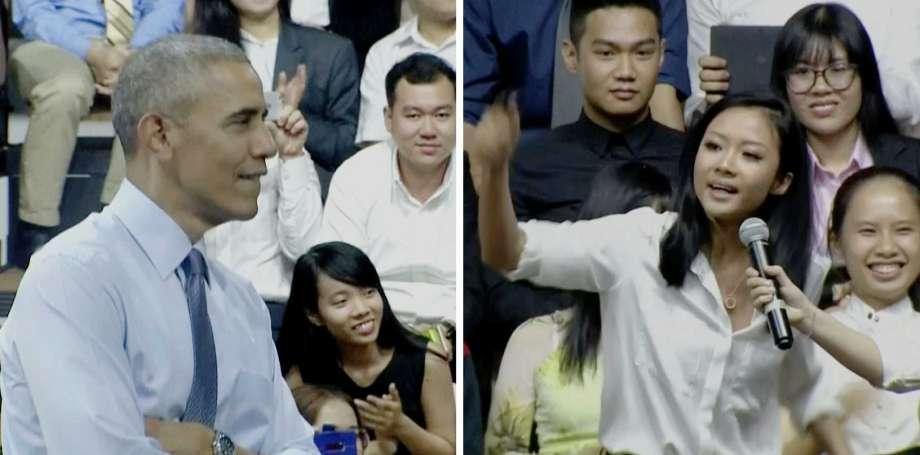 Suboi hát một đoạn rap theo đề nghị của ông Obama.