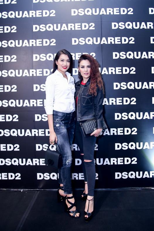 """Á hậu Hoàn Vũ Lệ Hằng và Á hậu Doanh Nhân Phương Lê cùng chọn phong cách cực """"ngầu"""" với jeans –dòng sản phẩm nổi tiếng nhất của Dsquared2."""