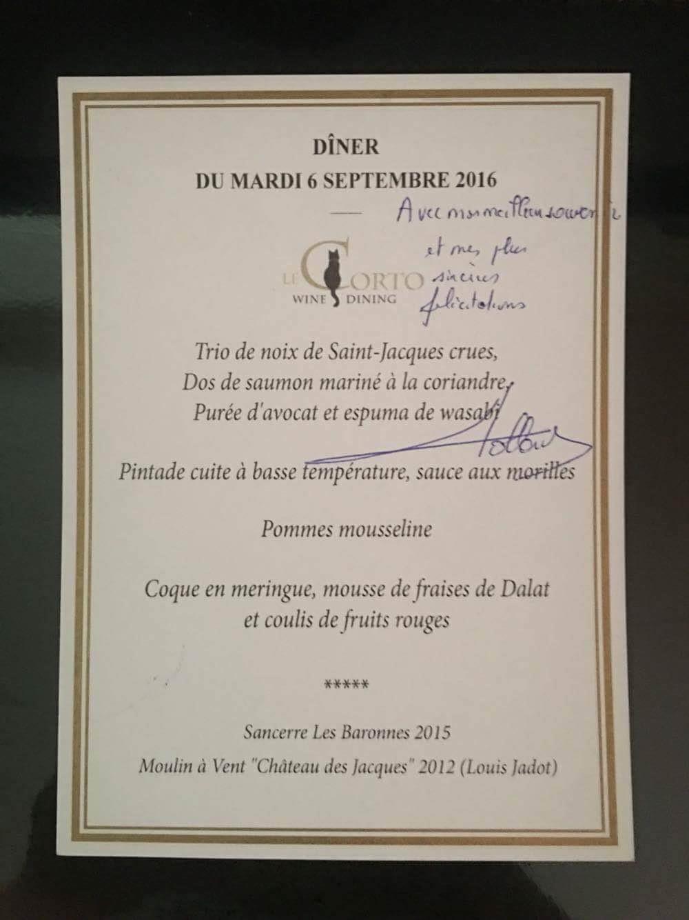 Thực đơn bữa tối có chữ ký của Tổng thống Pháp François Hollande.