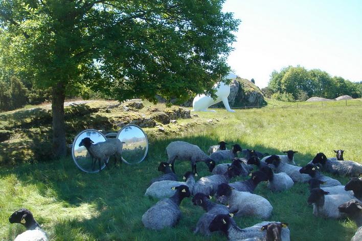 Đàn cừu trên cánh đồng tác phẩm nghệ thuật tại Pilane, Tjorn