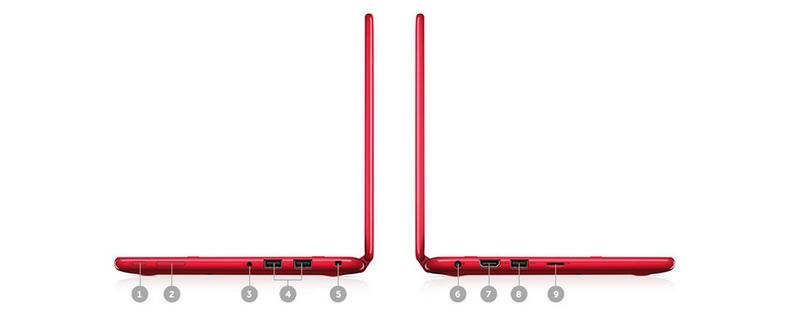 Inspiron 3169 đa dạng các cổng kết nối 1.Power/ 2. Volume/ 3. Audiojack/ 4. USB 2.0/ 5. Noblelockslot/ 6. DC power in/ 7. HDMI/ 8. USB 3.0/ 9. Micro SD cardreader