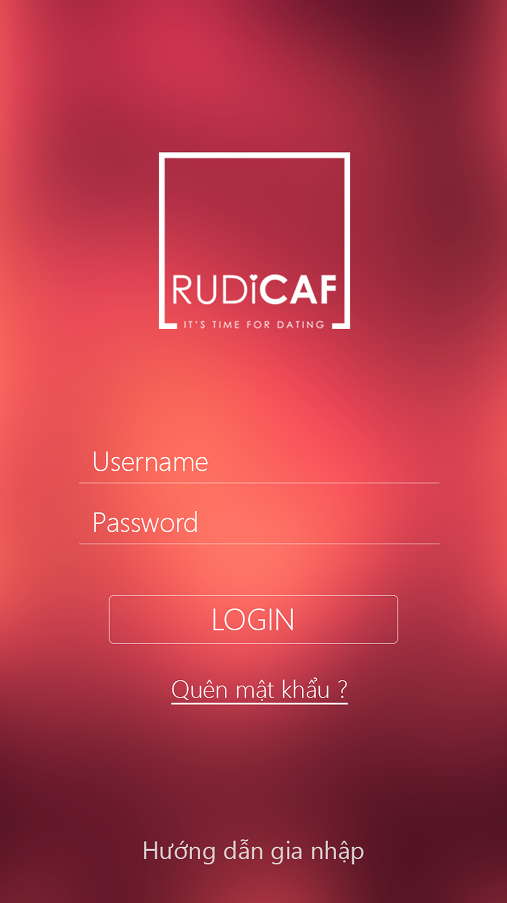 Giao diện ứng dụng book lịch hẹn hò Rudicaf.