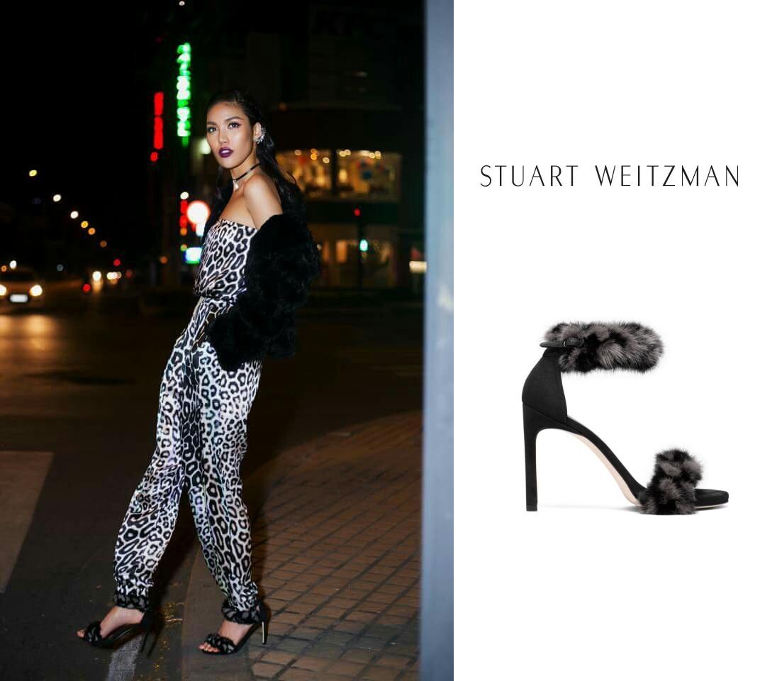 Siêu mẫu Lan Khuê trong một mẫu giày đình đám của STUART WEITZMAN.