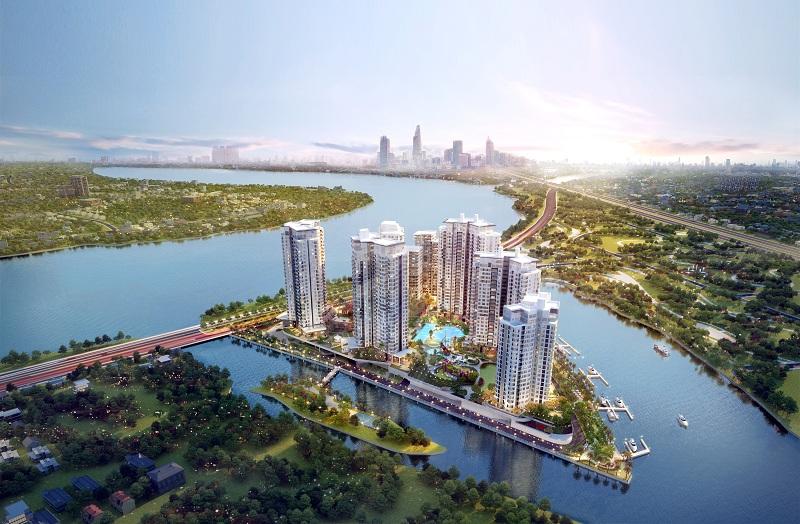 Phối cảnh dự án Diamond Island với 3 mặt giáp sông, tầm nhìn 360 độ hướng sông và trung tâm thành phố.