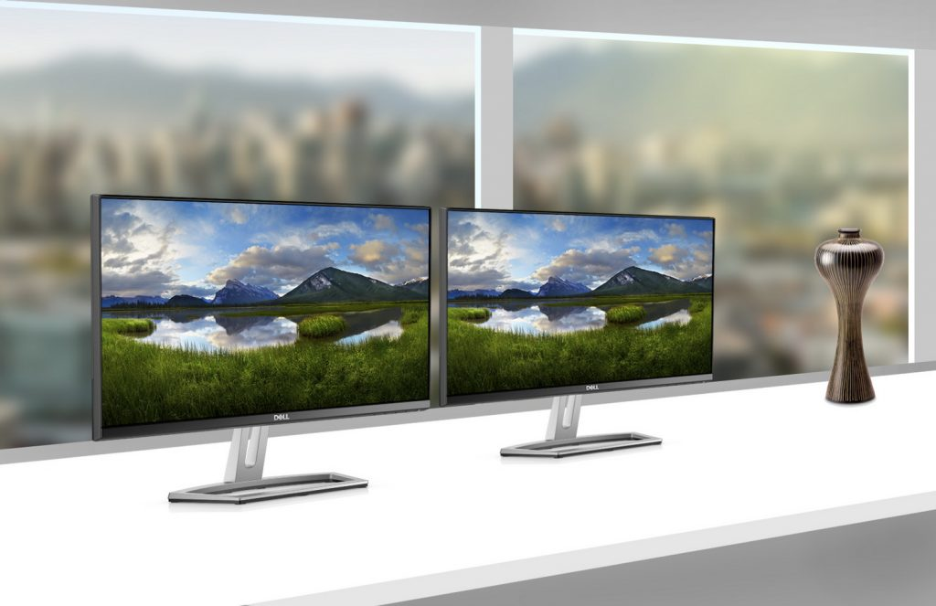 Dell S-Series monitor family, models: S2218H, S2318H, S2718H, S2418H featuring Diplo speaker.