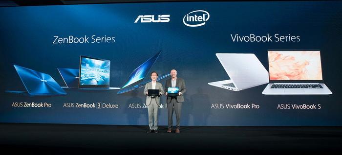 Chủ tịch ASUS Johnny Shih cùng Phó Chủ tịch tập đoàn Intel phụ trách Client Computing Group - ông Gregory Bryant trên sân khấu.