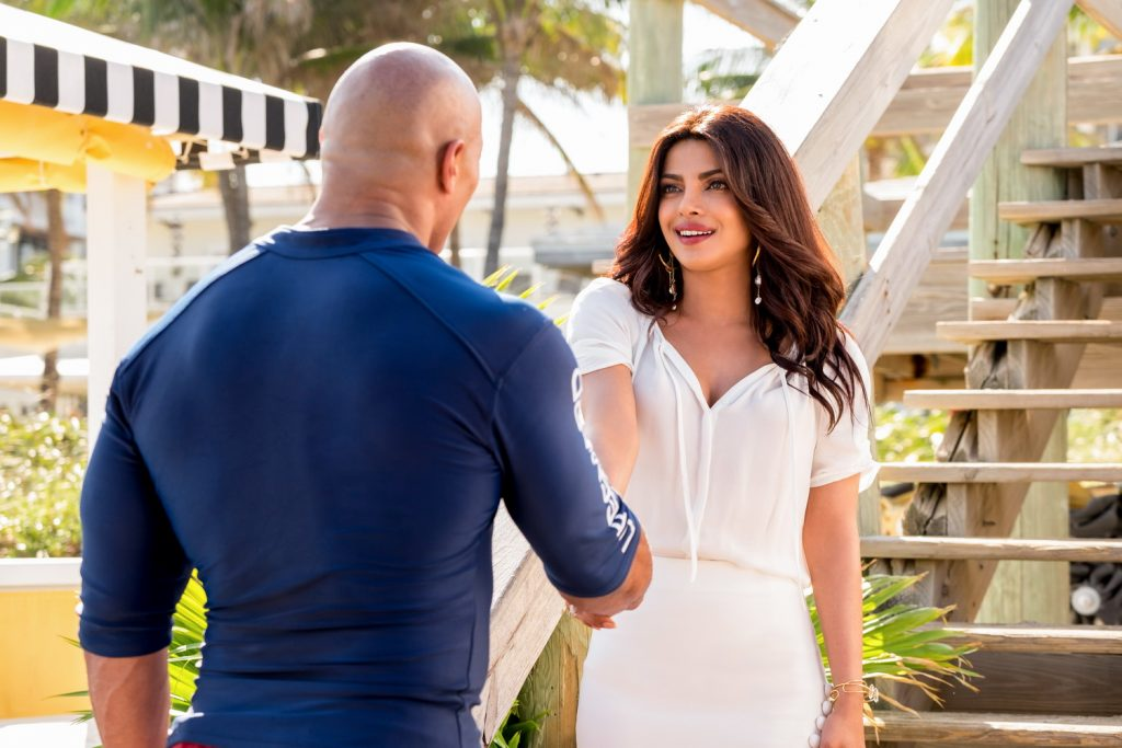 (L-R) Dwayne Johnson as Mitch Buchannon and Priyanka Chopra as Victoria Leeds in the film BAYWATCH by Paramount Pictures, Montecito Picture Company, FlynnPicture Co., and Fremantle Productions