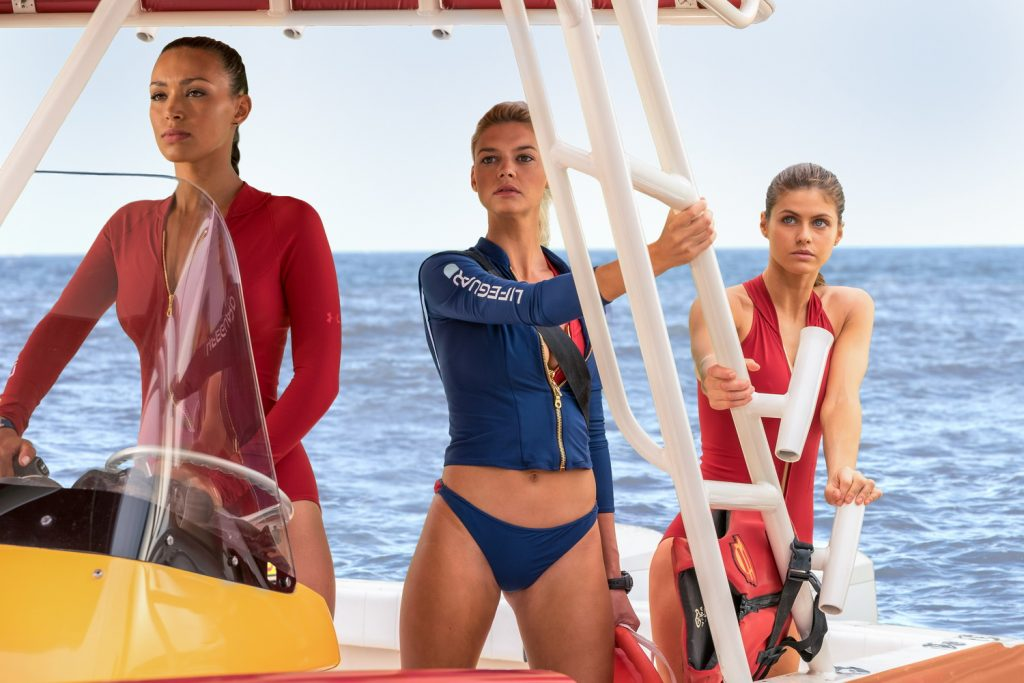 (L-R) Ilfenesh Hadera as Stephanie Holden, Kelly Rohrbach as CJ Parker and Alexandra Daddario as Summer in the film BAYWATCH by Paramount Pictures, Montecito Picture Company, FlynnPicture Co., and Fremantle Productions