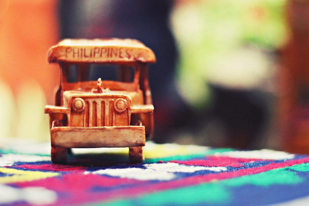 Mniature wooden Philippine Jeepney
