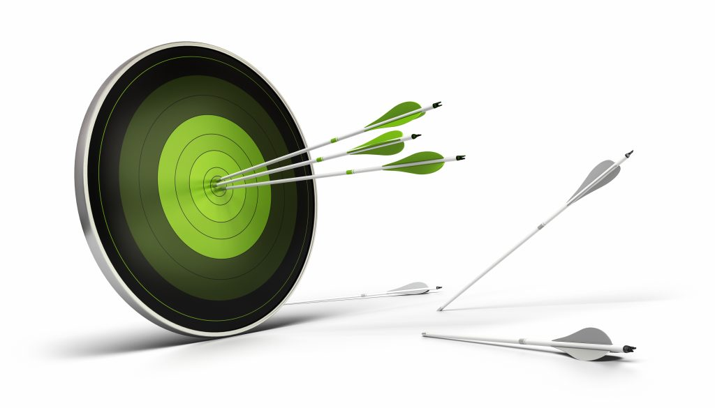 green target and arrows hitting the center