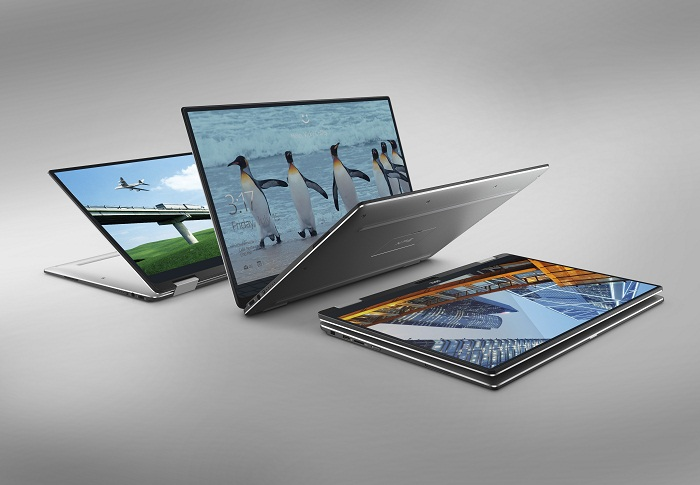 Three Dell XPS 13 (Model 9365) Touch 13-inch notebook computers, codename Aventador.