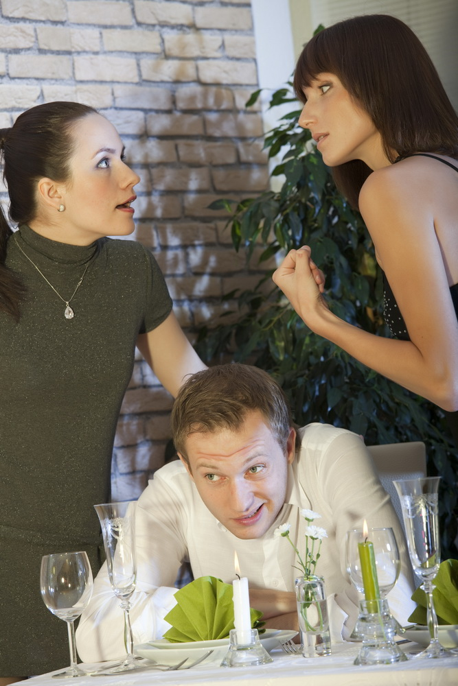 conflict between two women in a restaurant