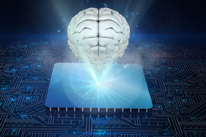 Composite image of brain with electronic systems background