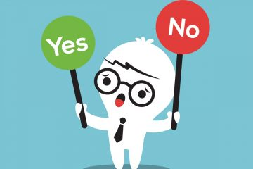 cartoon business man with a Yes or No sign