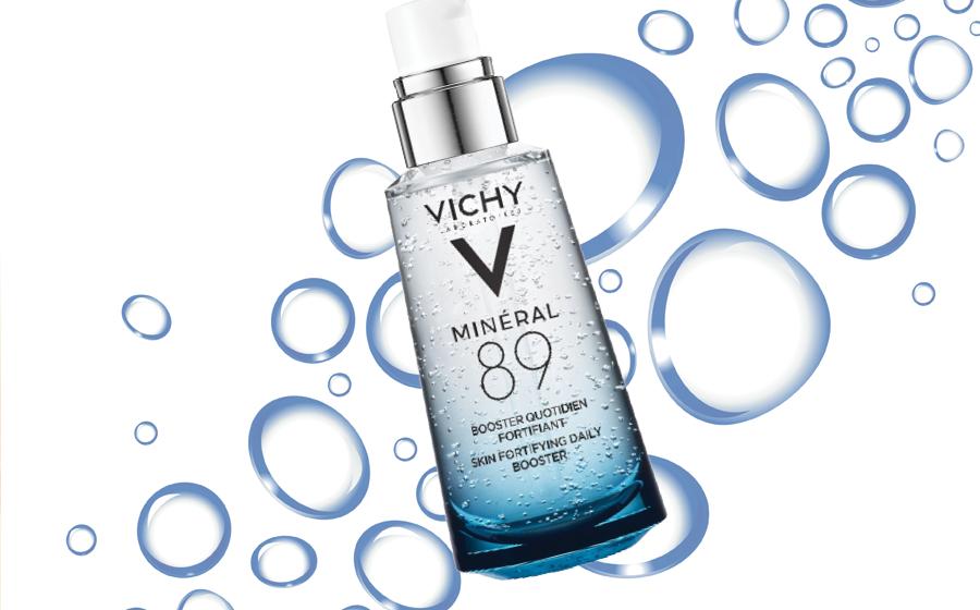 Vichy 89: dưỡng chất Mineral 89 có khả năng 'sửa chữa' và củng cố hàng rào bảo vệ da, từ đó mang lại hiệu quả phục hồi và tái tạo, cho da căng mịn, rạng rỡ. Sản phẩm chứa 89% thành phần nguyên liệu là nước khoáng cô đặc, kết hợp với Hyaluronic Acid.