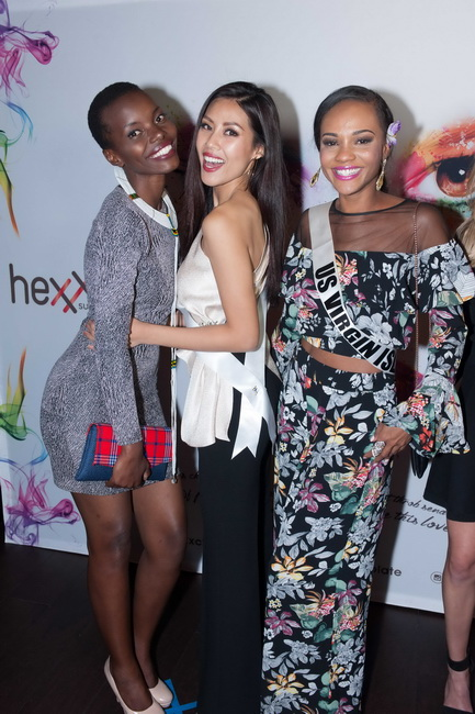 Lilian Ericaah Maraule, Miss Tanzania 2017; Loan Nguyen, Miss Vietnam 2017; and Esonica Veira, Miss US Virgin Islands 2017; during dinner at Hexx Kitchen + Bar in Las Vegas on Thursday, November 16th. The Miss Universe contestants are touring, filming, rehearsing and preparing to compete for the Miss Universe crown in Las Vegas. Tune in to the FOX telecast at 7:00 PM ET live/PT tape-delayed on Sunday, November 26, live from the AXIS at Planet Hollywood Resort & Casino in Las Vegas to see who will become the next Miss Universe. HO/The Miss Universe Organization