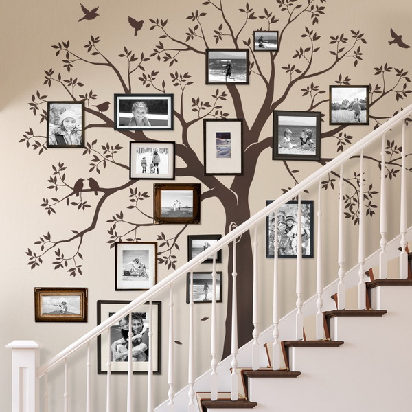 Staircase Family Tree Wall Decal Tree Wall Decal Organic Giant throughout sizing 1000 X 1000 - Wall Design