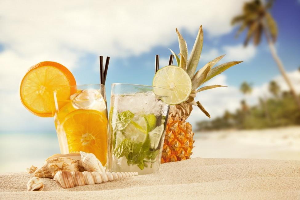 beach drinks wallpaper New beach drink tropical fruit beach shells cocktails sand palm