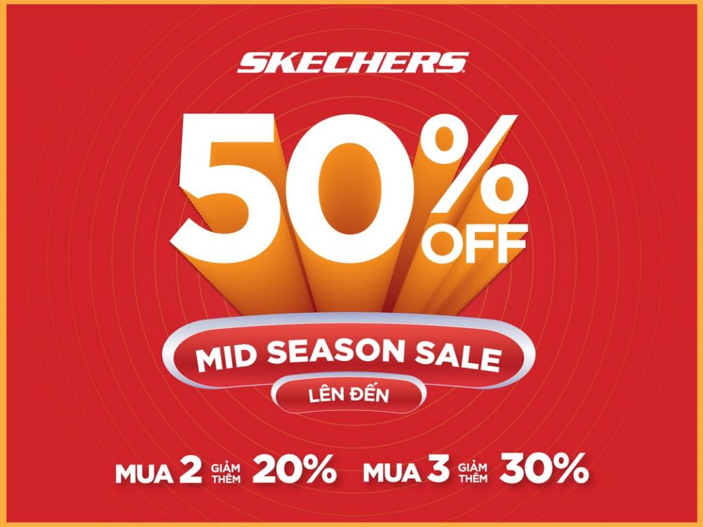Skechers Việt Nam Mid Season Sale ưu đãi 50%