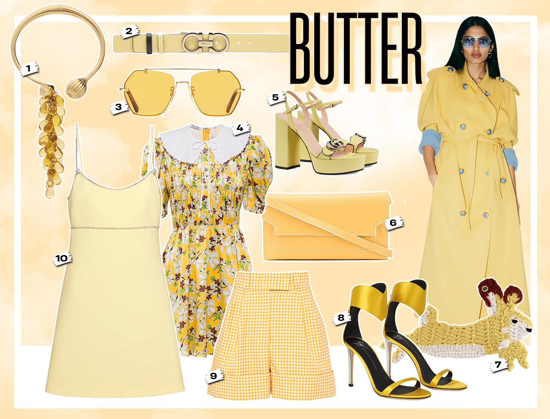 mix & match phối trang phục với đồ màu vàng mơ butter